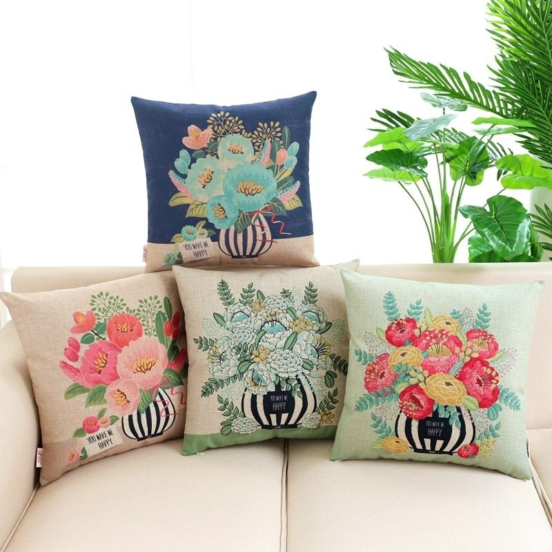 Rustic Country Garden You Make Me Happy Pop Art Cotton Blend Linen Throw Cushion Covers for Cottage House Decor Collection 45x45cm  ❤ Resellers Welcome ❤ Dropshipping Available ❤ Great as Gifts.  View more at spreesy.com/cookies