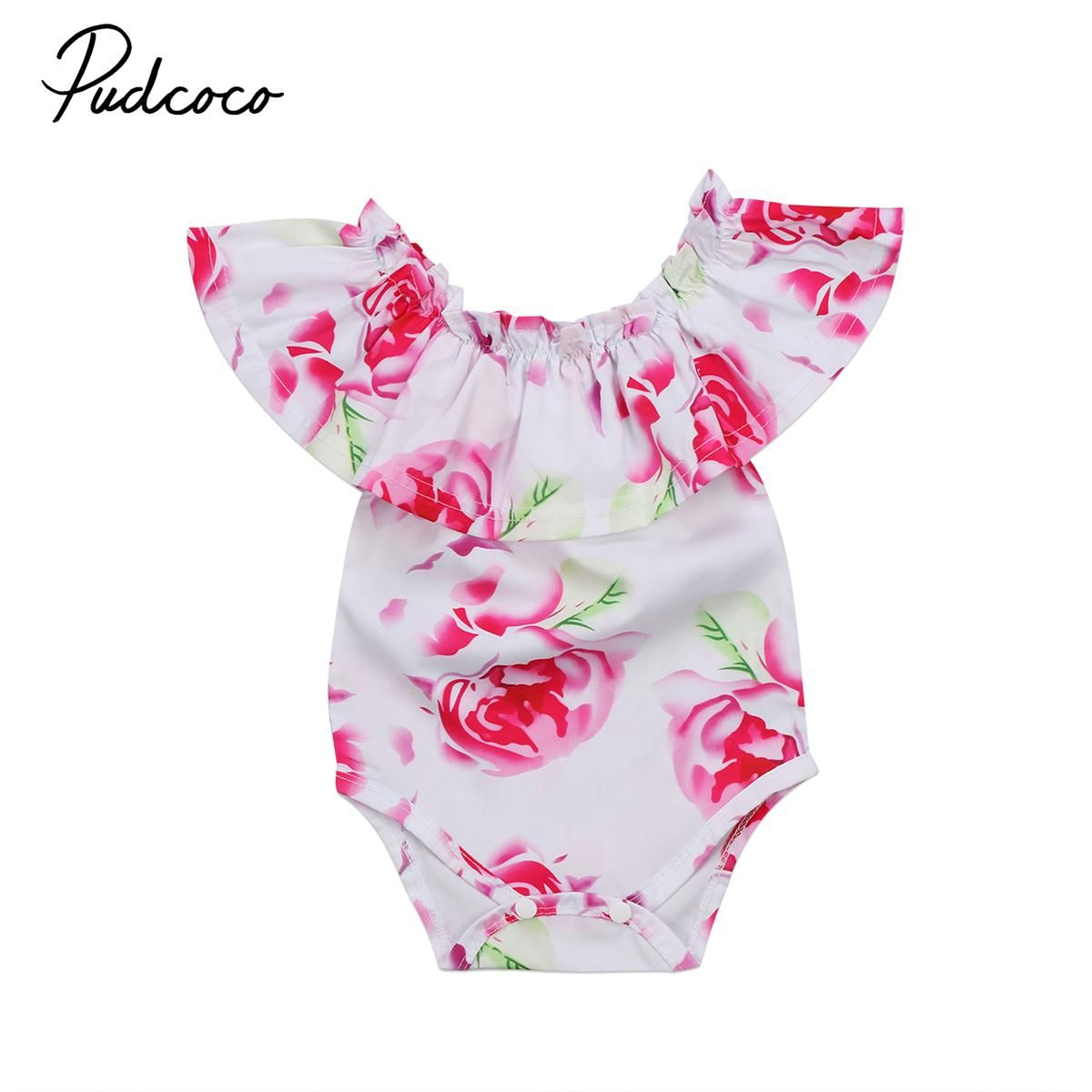 c2190b7e33d4 Cute Summer Newborn Baby Girls Floral Romper Jumpsuit Playsuit Clothes  Ruffle Sleeveless One-Piece Cotton. Yesterday s price  US  4.57 (3.92 EUR).