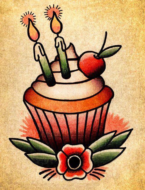 Tattoo style cupcake blank birthday card by for Birthday tattoo ideas