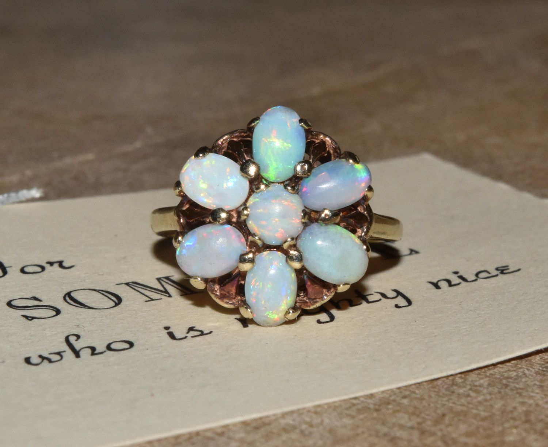 Opal 10k Yellow Gold Ring Gemstone Flower Sz 4 5 Yellow Gold Rings Gemstones Gold Rings