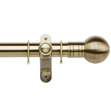 Galleria Metals 50mm Brass Burnished Pole Set Ribbed Ball Brass