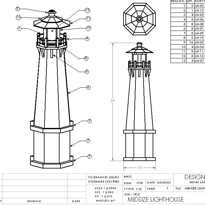 Details about DIY Wood Lighthouse Woodworking Plans