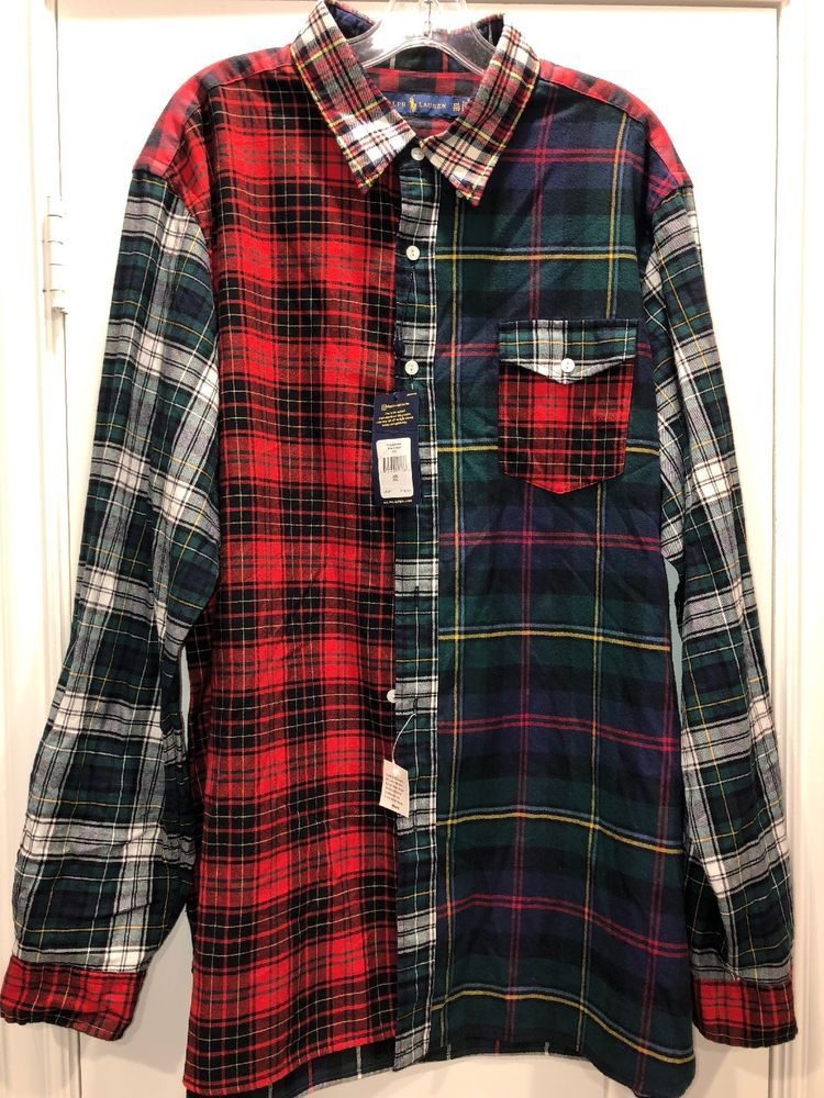 4308fbb5 Polo Ralph Lauren patchwork madras tartan black watch plaid shirt XXL red # Polo#RalphLauren #fashion#men#patch