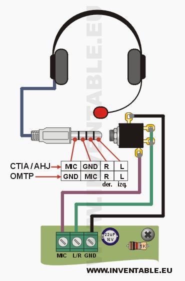 Conexión de los auriculares con un solo jack de 4 contactos. | Tech on