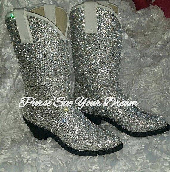 a0eb62f4437 Custom Design Swarovski Crystal Wedding White Cowboy Boots - Custom ...