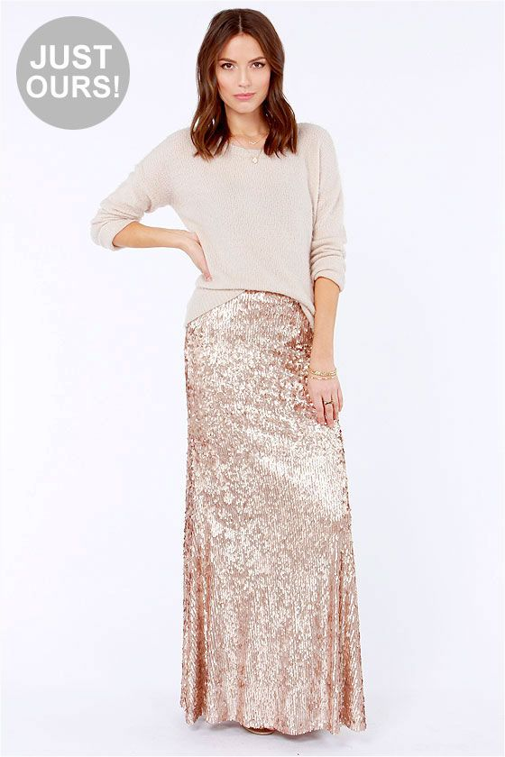 c8c003c1d1 LULUS Exclusive Reign or Shine Gold Sequin Maxi Skirt at LuLus.com! OOOooo!  I want this skirt!!!