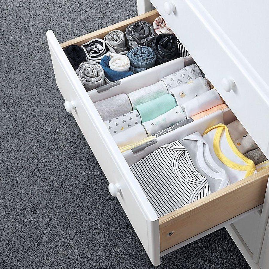 Oxo Tot Divider Drawer Organizer In White Set Of 2 Grey The Divider Drawer Org In 2020 Baby Drawer Organization Baby Dresser Organization Baby Clothes Organization
