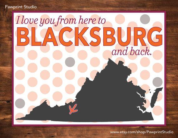 Instant Printable I Love You From Here To Blacksburg And Back Etsy In 2020 Blacksburg Virginia Tech Hokies Virginia Tech