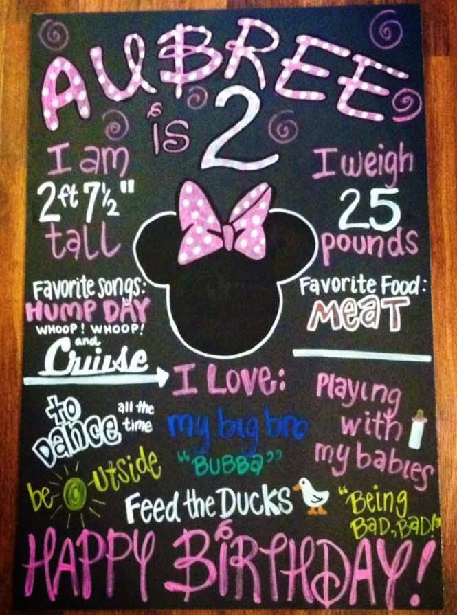 Happy 2nd Birthday Aubree Minnie Mouse Chalkboard Dont Forget To LIKE