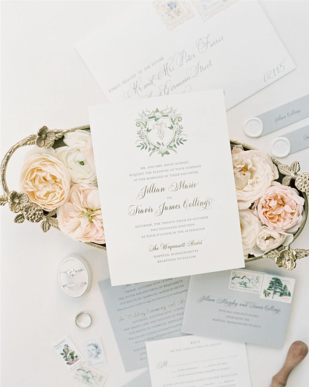 Gold Coast Wedding Invitations: Custom Crest Stationery With Gold Foil Letterpress And