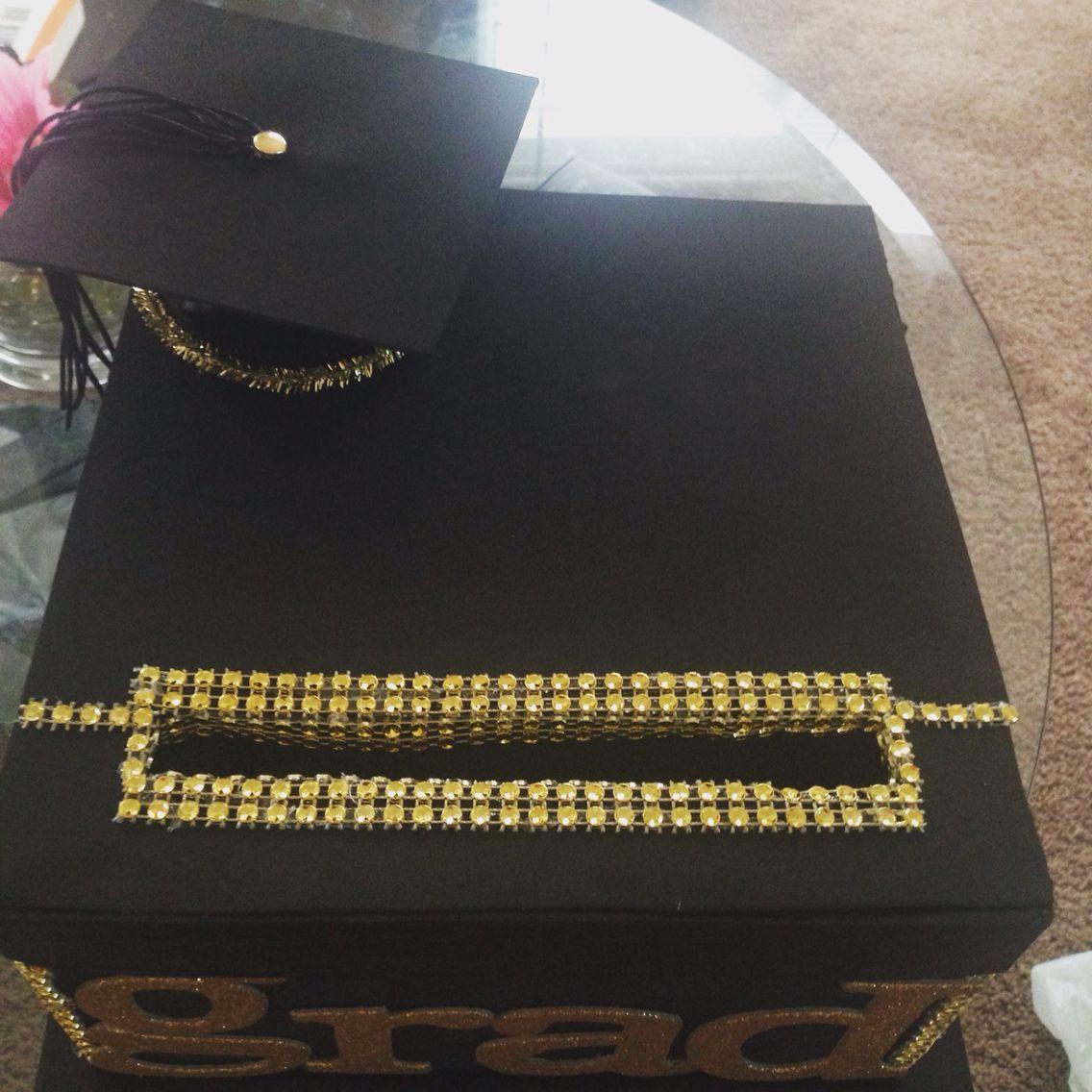 Diy graduaton card box black gold ght_e graduation