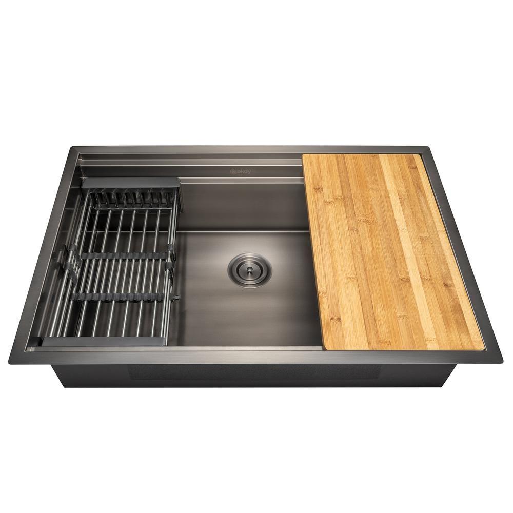 45 Drop In Matte Black Kitchen Sink With Drainboard Double Bowl Quartz Black Kitchen Sink Matte Black Kitchen Sink Matte Black Kitchen