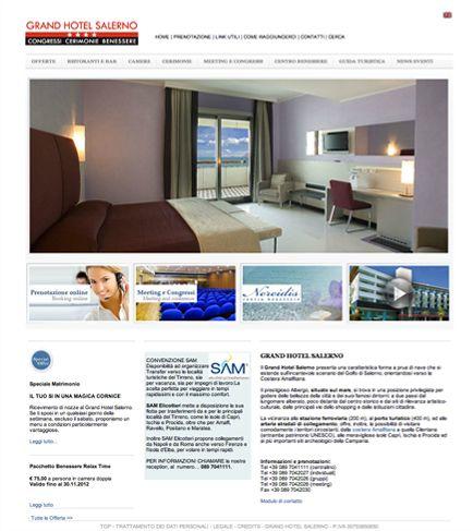 Sviluppo grafico del layout e personalizzazione CMS per Il Grand Hotel Salerno, politiche di posizionamento sui motori di ricerca, Gestione campagne pay per click. www.grandhotelsalerno.it