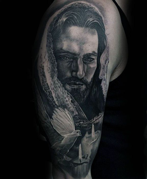 50 Jesus Sleeve Tattoo Designs For Men Religious Ink Ideas Tatts