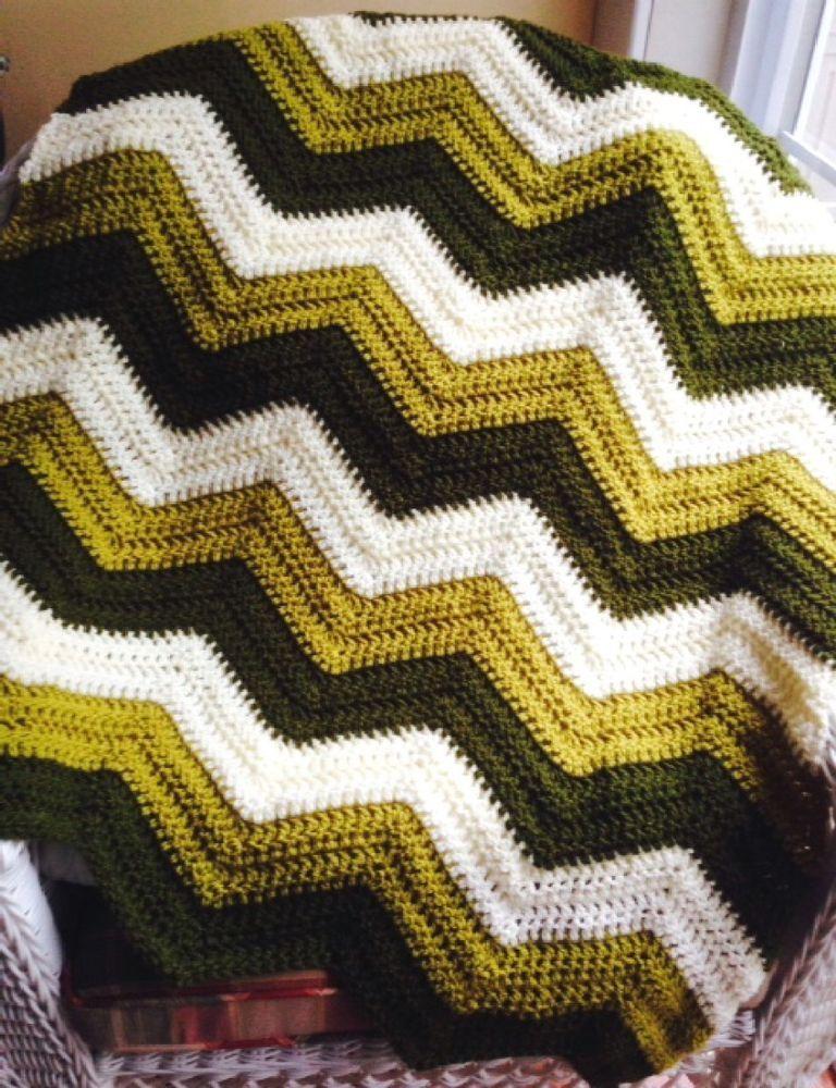 Yellow /& Green Hand Knit Crochet Afghan Baby Blanket