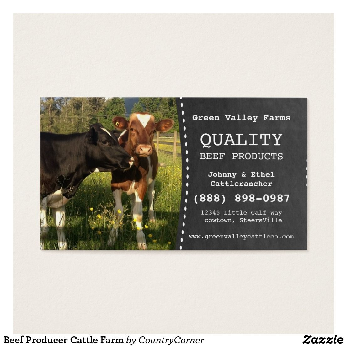 Beef Producer Cattle Farm Business Card | Business cards and Business
