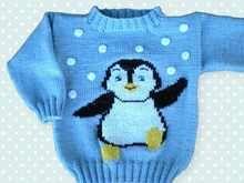 Photo of Pullover stricken//Pinguin//Gr.92/98++104/110