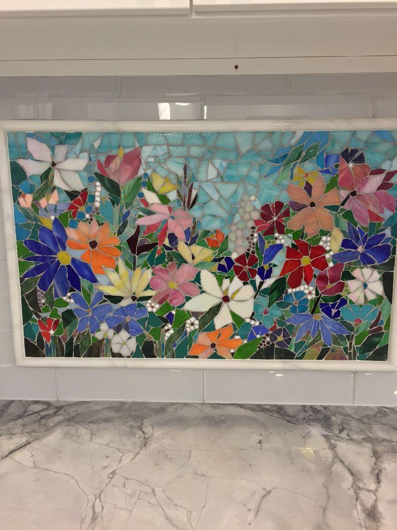 - Floral Mosaic Kitchen Backsplash Mosaic Tile Art, Mosaic