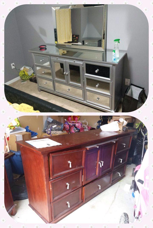 Mirrored dresser diy | Repurposed furniture