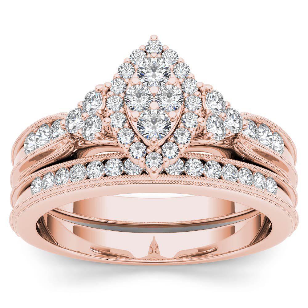 De Couer 10k Rose Gold 1/2ct TDW Diamond MarquiseFramed