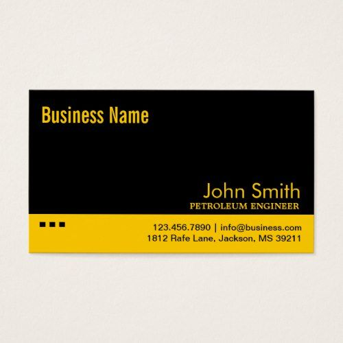 Black  Yellow Petroleum Engineer Business Card Drilling Engineer - petroleum engineer job description
