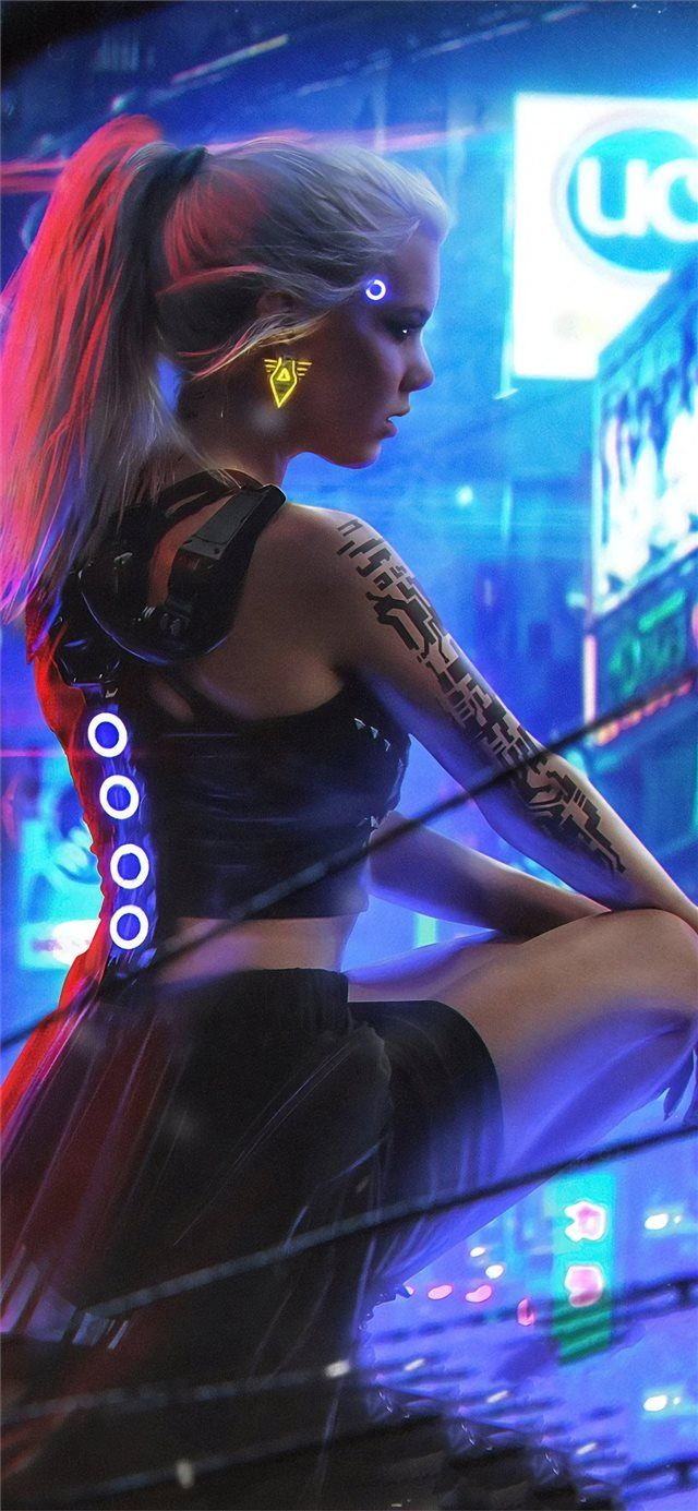 cyberpunk neon girl 4k iPhone X Wallpapers Neon girl