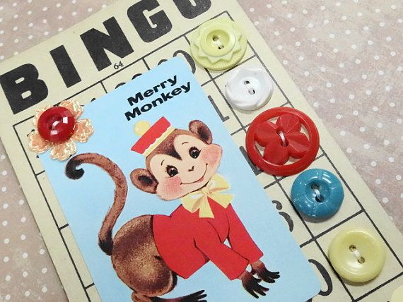 Baby Boomer Merry Monkey Whitman Playing Card Sewing Buttons Notions Fashion Embellishments On Bingo Game Card