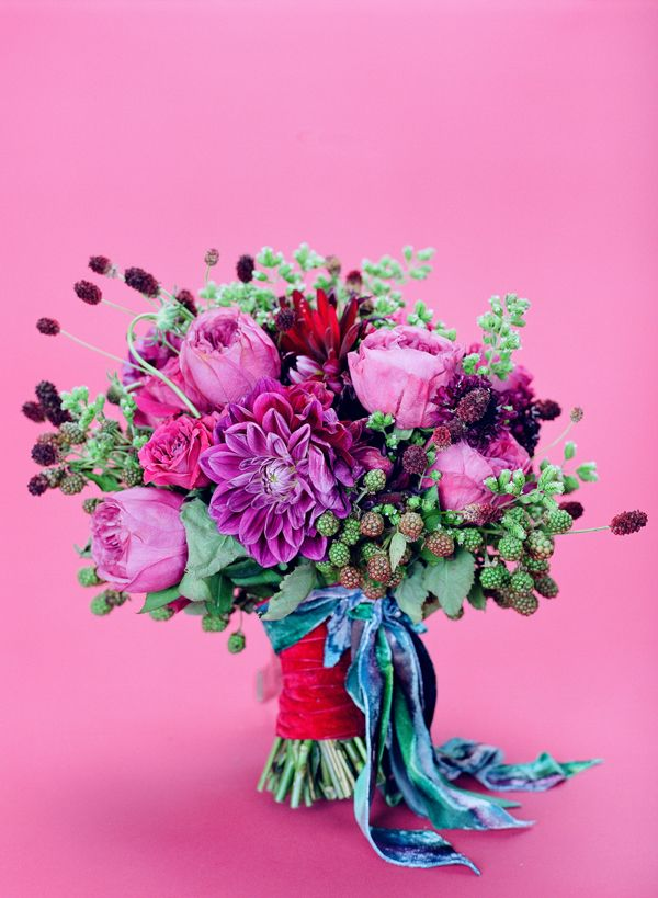 V4 Feature :: Southern Blooms | Pink purple, Teal bouquet and Blackberry