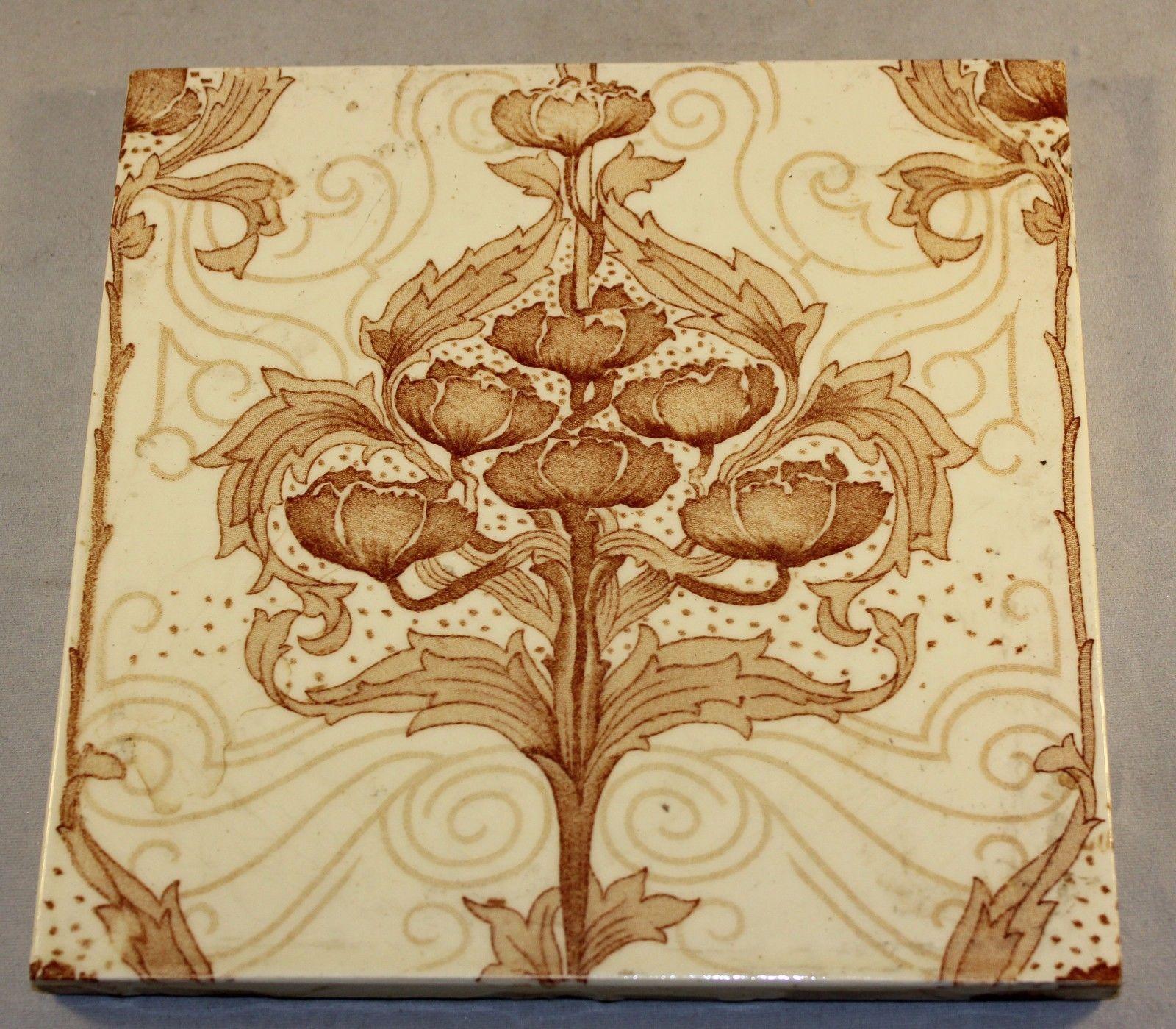 Antique Victorian Minton Art Nouveau Classic Transfer Printed Wall Tile 6 034 X 6 034 Ebay Art Nouveau Vintage Tile Art