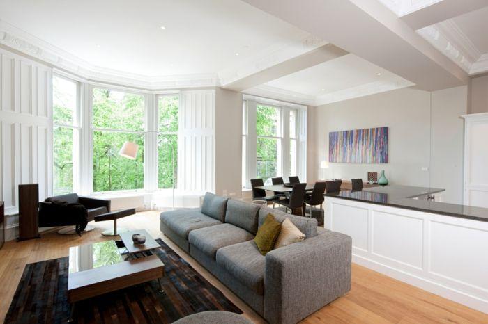 graues sofa wohnzimmer einrichten ideen dunkler teppich offener ...