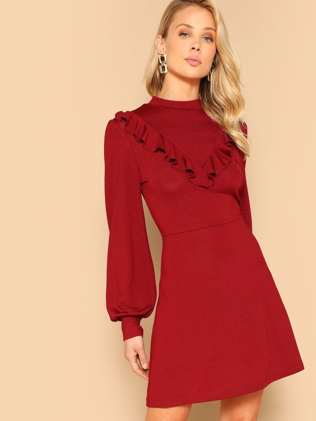 Ruffle Trim Bishop Sleeve Fit Flare Dress Check Out This Ruffle Trim Bishop Sleeve Fit Flare Dress On Shein Fit Flare Dress Flare Dress Fit And Flare Dress [ 1785 x 1340 Pixel ]