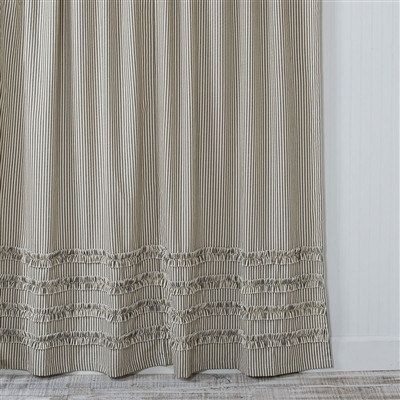 Our Ticking Stripe Ruffle Shower Curtain In Black With An Ivory