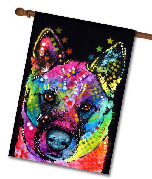 Abstract Akita House Flag 28 X 40 Art Akita Akita Dog