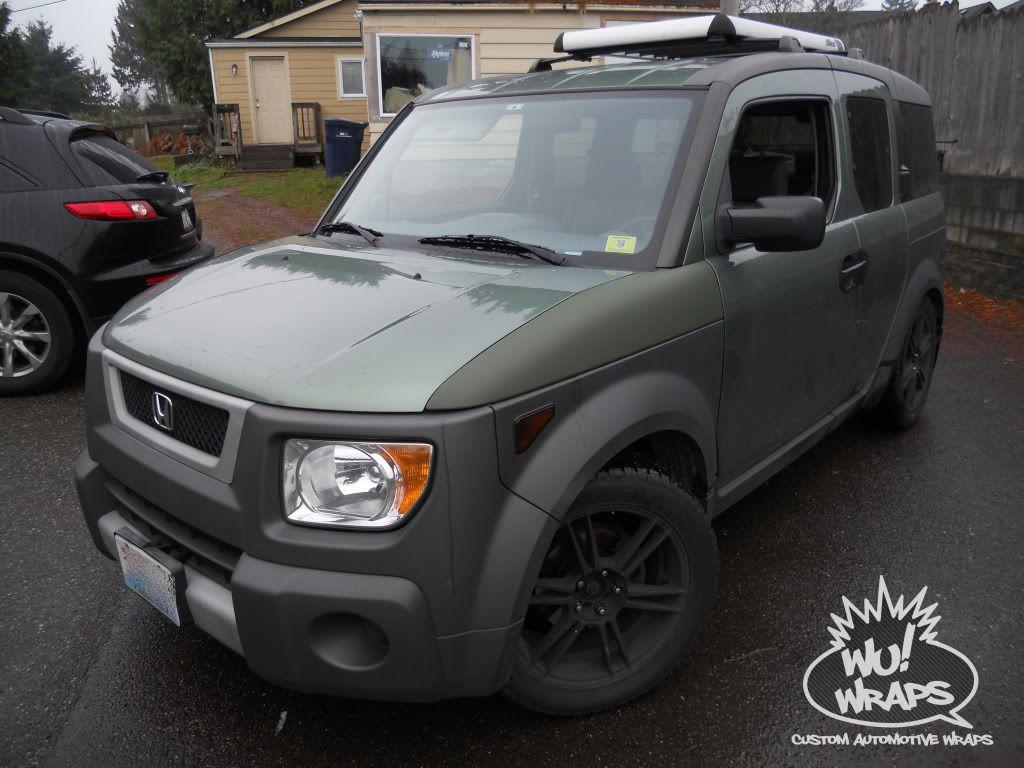 custom+honda+element | honda element 3m 1080 matte black matte military  green wrap Wu! Wraps .