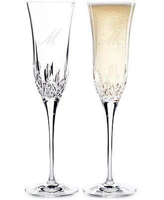 Waterford Lismore Essence Monogram Toasting Flute Pair - Gifts - Women - Macy's