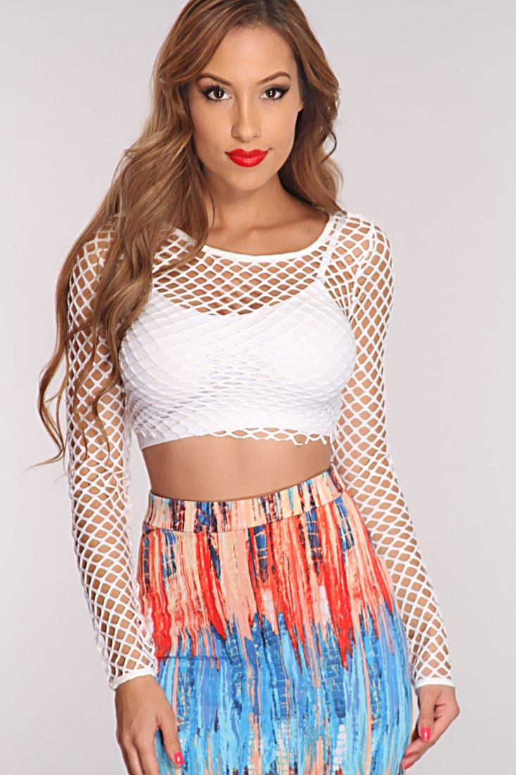c284dea3bb9 White Netted Long Sleeve Sexy Crop Top | Fashion - Cropped Tops ...
