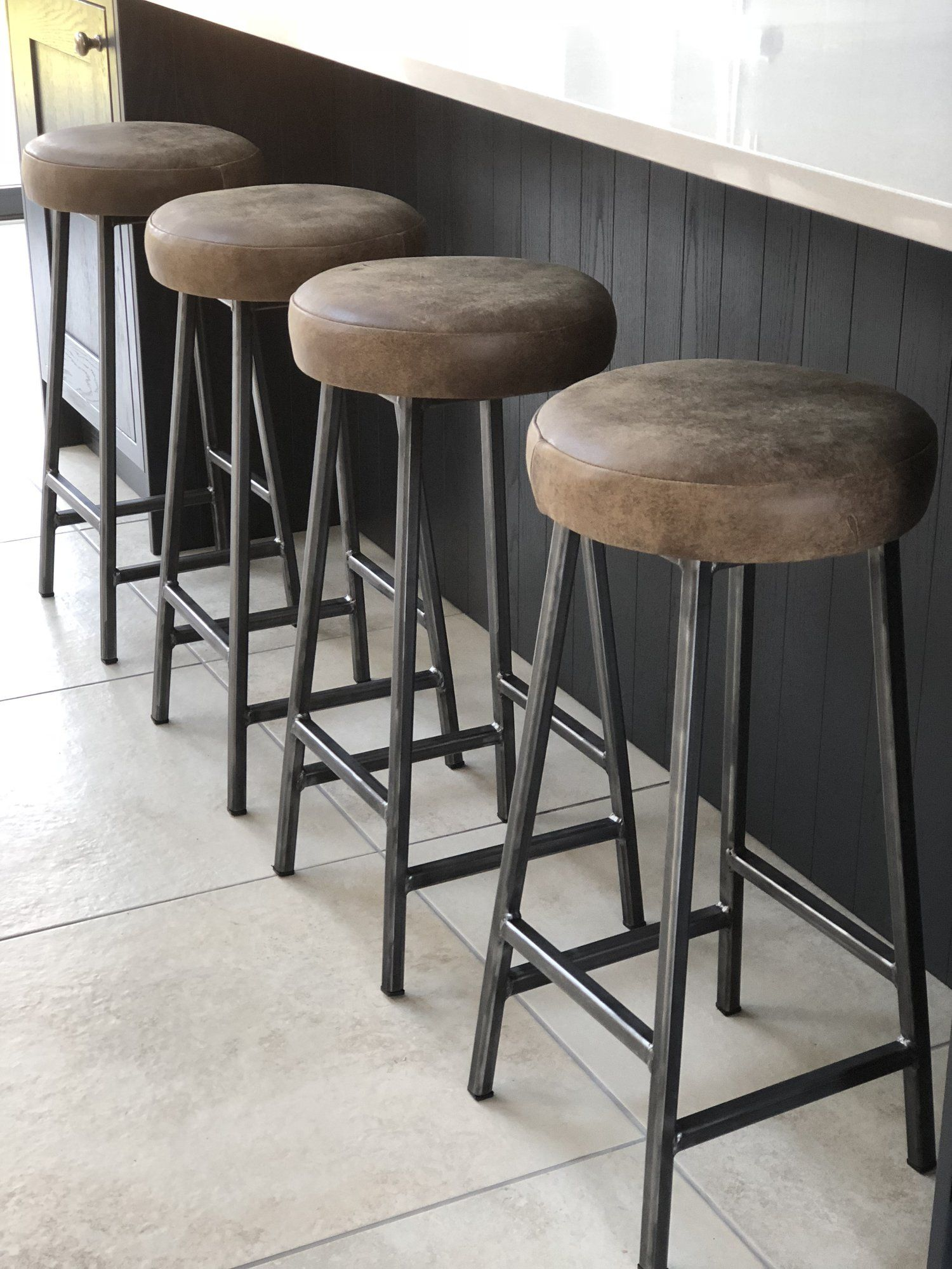 Leather Seat Bar Stool Paul Frampton Design Ltd Bar Stools Industrial Bar Stools Steel Bar Stools