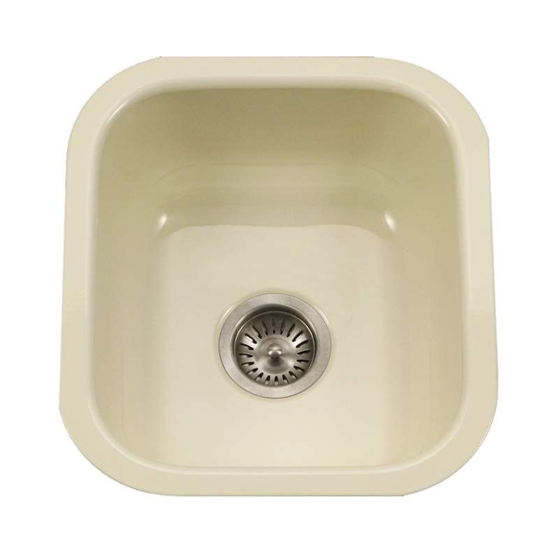 Houzer Pcb 1750 Porcela 15 3 5 Single Basin Undermount Porcelain Enameled Kitch Biscuit Fixture Kitchen Sink Porcelain Products Prep Sink Sink Single Bo