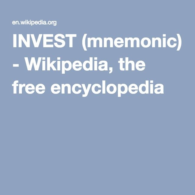 INVEST (mnemonic) - Wikipedia, the free encyclopedia