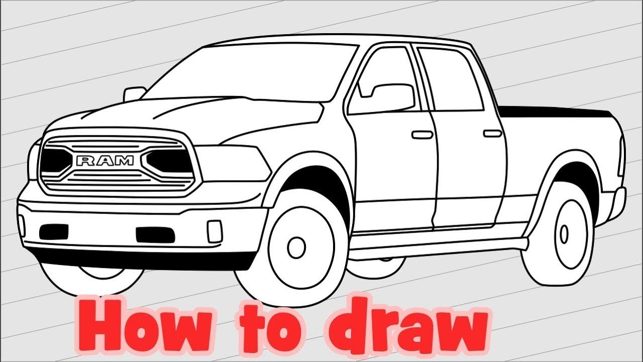 How To Draw Truck Dodge Ram 1500 2018 Pickup Drawing Dodge Ram