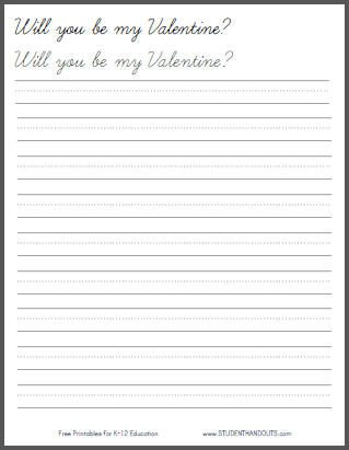 will you be my valentine cursive script handwriting practice worksheet for kids. Black Bedroom Furniture Sets. Home Design Ideas