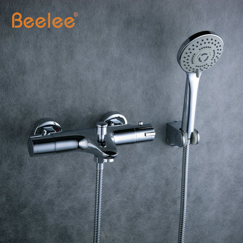 Beelee High Quality Chrome Wall Mounted Bathroom Thermostatic Faucet ...