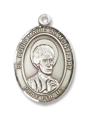 """Sterling Silver St. Louis Marie de Montfort Medal Pendant with 24"""" Stainless Steel Chain in Gift Box BM001 http://www.amazon.com/dp/B003ALPL5K/ref=cm_sw_r_pi_dp_Ar8hwb1YVD254"""