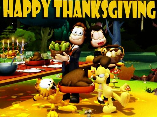 Garfield Odie Jon And Jon Has A Girlfriend 0 Happy Turkey Day Thanksgiving Wallpaper Garfield Wallpaper
