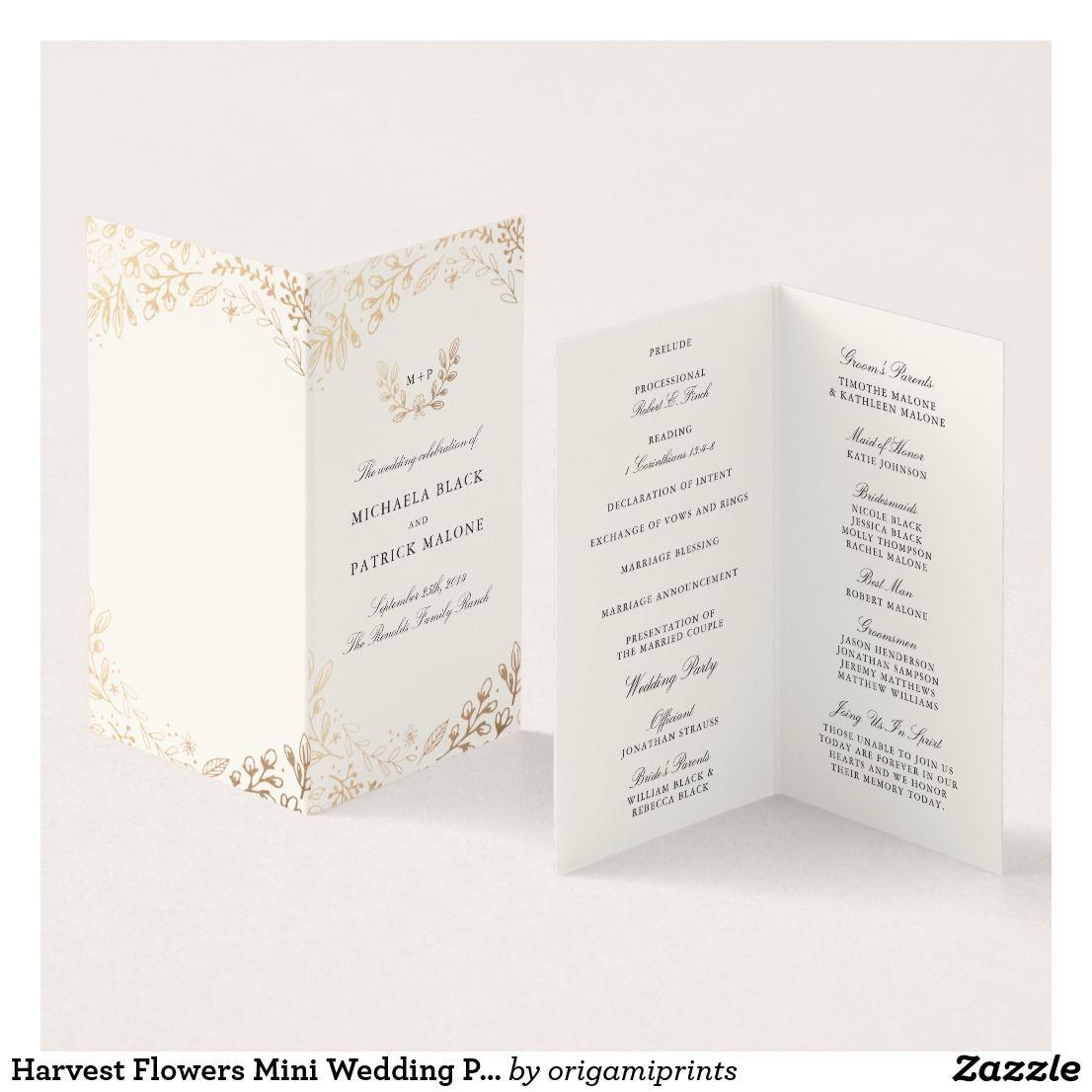 Harvest Flowers Mini Wedding Program Card Elegant gold floral by ...