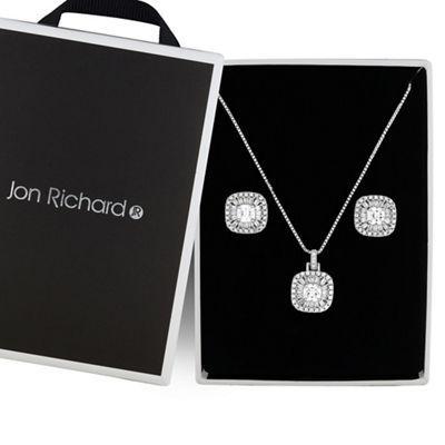 Jon Richard Silver Crystal Square Jewellery Set Debenhams Circle Jewelry Square Jewelry Heart Jewelry Set