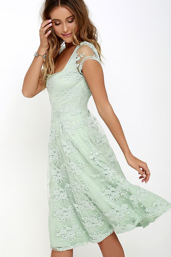 d8049b201eb50 Check this Sage Green Lace Midi Dress out. Floral embroidery over sheer  mesh, lace cap shoulders, raised waistline and an irresistible color of the  season.