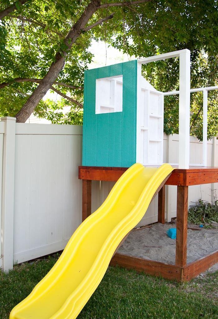 kinderspielhaus für garten mit Rutsche selber bauen Haus  Garten