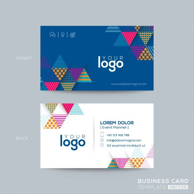 simple corporate card with triangular geometric shapes free vector