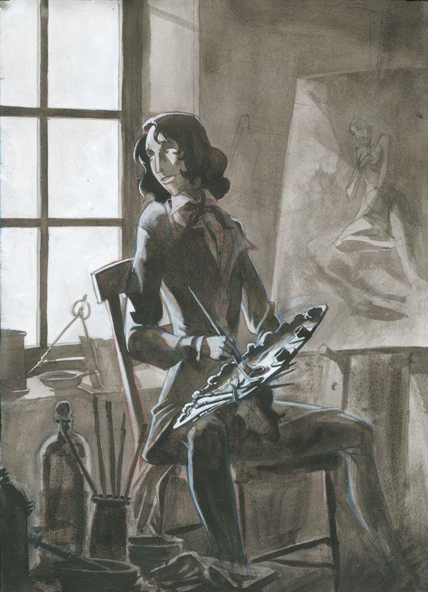 'Un pintor': tinta- aguada, gouache y lápiz. 300€ David Belmonte ©